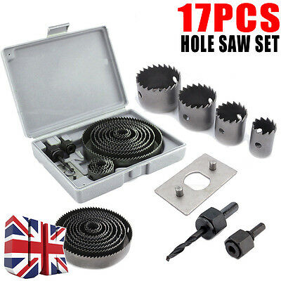 17 HOLE SAW SET METAL CIRCLE ROUND CUTTER DRILL WOOD ALLOY DOWNLIGHTS 19-127mm