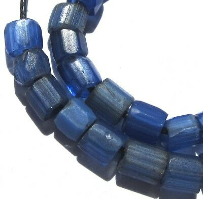 29 Rare Small Hand Faceted Old Amazing Russian Blue Antique Beads African Trade