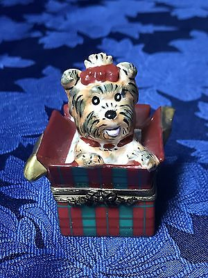 Beautiful Vintage Limoges France Trinket Box Terrier in a Christmas Gift Box