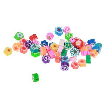 50 Colorful Polymer Clay Spacer Flower Beads Findings For DIY Jewelry Making