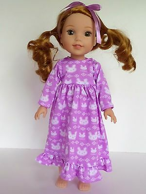 "Purple Rabbit Nightgown Pajamas Fits Wellie Wishers 14.5"" American Girl Clothes"