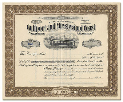 Gulfport and Mississippi Coast Traction Company Stock Certificate