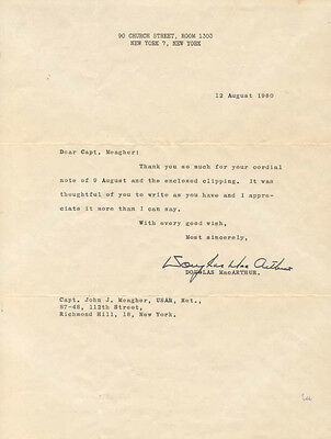 Douglas Macarthur - Typed Letter Signed 08/12/1960