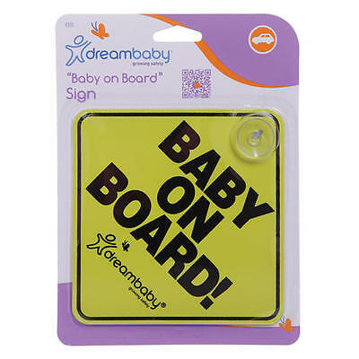 "NEW Dreambaby ""Baby On Board"" Rear Car Truck Auto Window Sign Suction Cup Mount"