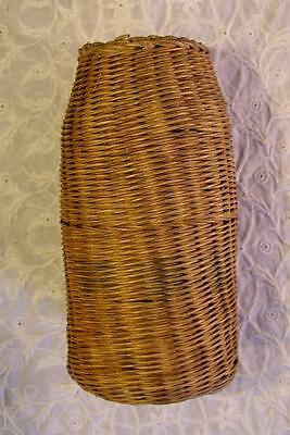 Antique Wicker Rattan Finely Woven Reed Covered Glass Jar Bottle Excellent