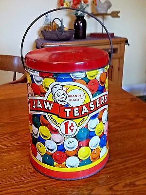Vintage Jaw Teasers One Cent Bubble Gum Tin Litho Store Display Pail Boston, MA