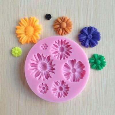 3D Flower Round Shaped Fondant Chocolate Molds Cake Tool Mould Silicone Pink LG