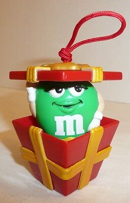 Green M&M Holiday Ornament - MM in Pop-Up Box / Present Woman Girl Gift Candy