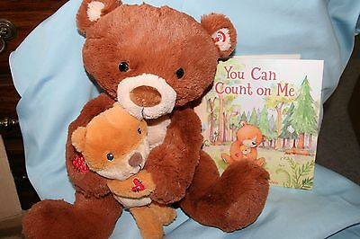Hallmark YOU CAN COUNT ON ME BEAR & Baby Plush Singing Bruno Mars With BOOK