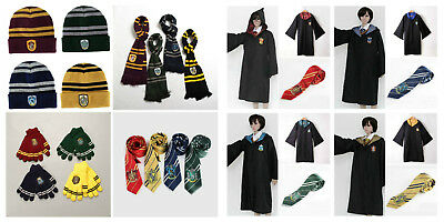 Harry Potter Scarf Tie Gloves Beanie Hat Robe Costume Set Gryffindor Ravenclaw