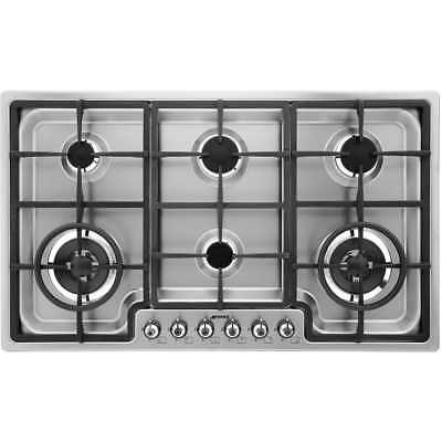 Smeg PGF96 Classic Built In 87cm 6 Burners Gas Hob Stainless Steel New from AO