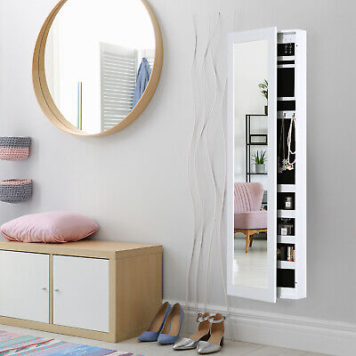 Mirrored Jewelry Cabinet Armoire Hanging Wall Mount Storage Organizer White