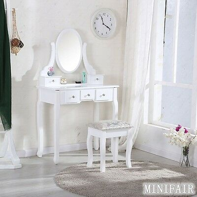 Vintage White Dressing Table With Mirror and Stool Make-up Dresser Set And Stool
