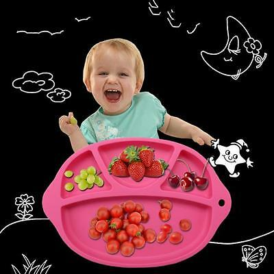 One-piece Baby Silicone Suction Table Food Tray Placemat Plate Divided Bowls