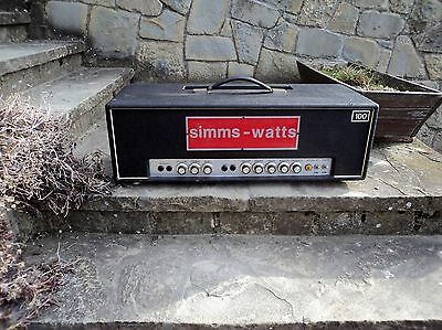 RARE 1969/70 Simms Watts AP100 Tube Amp Head - Marshall Meets Hiwatt - VGC!!!