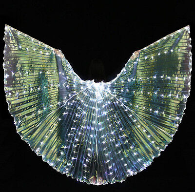Women New White LED Light 360 Degrees Belly Dance Wing Glowing Dancing Accessory