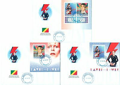 David Bowie In Memoriam Music Congo first day covers 3 FDC set