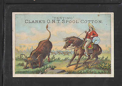 1880s CLARKS ONT SPOOL COTTON TESTING WESTERN THEME  VICTORIAN TRADE CARD
