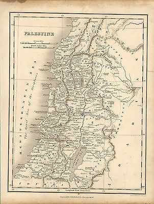 1828 map of palestine. engraved for & published  by j.vincent of oxford