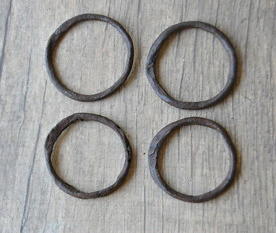"4 VINTAGE Horse Iron Tie Hitching Ring 1.9"" Handforged wagon plow farm Decor #03"