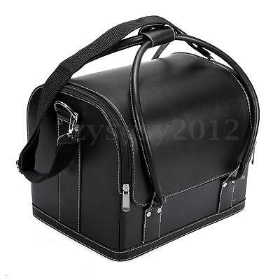 Large Space PU Leather Makeup Cosmetic Box Vanity Case Nail Tech Storage Bag UK