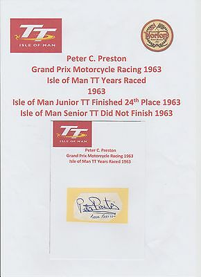 Peter Preston Motorcycle Racer 1963 Iomtt Rare Original Hand Signed Cutting