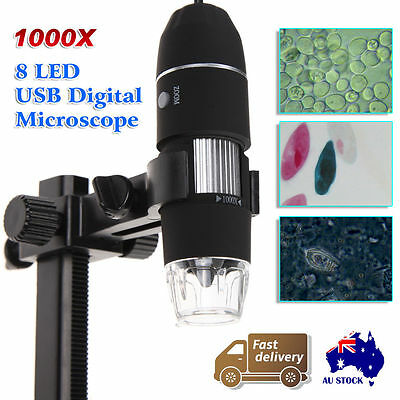 1000X 8 LED USB Digital Microscope 2MP Endoscope Magnifier Camera+Lift Stand AU