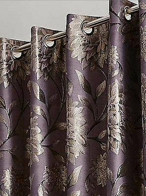 Metallic Floral Mauve Purple Ring Top Eyelet Ready Made Lined Jacquard Curtains