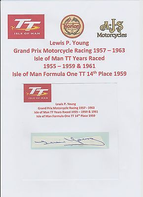 Lewis Young Motorcycle Racer 1957-1963 Iomtt Rare Original Hand Signed Cutting