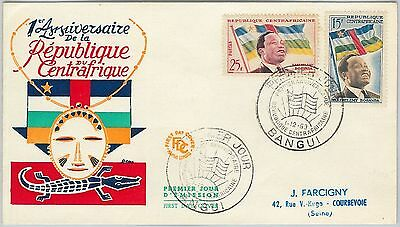 63072 - Central African Republic - POSTAL HISTORY - FDC COVER  - 1953  Flags