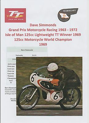 Dave Simmonds Motorcycle Racer 1963-1972 Iomtt Rare Original Hand Signed Picture