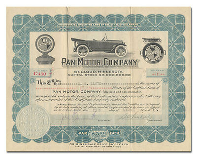 Pan Motor Car Company Stock Certificate Signed by Samuel Pandolfo
