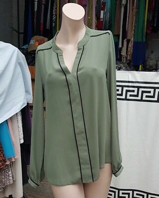 Atmosphere Lovely Sheer Silky Chiffon Blouse Top Olive Green  Size UK 8