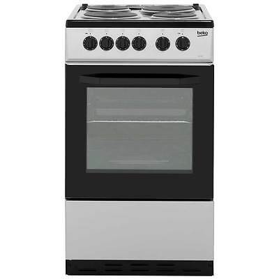 Beko BS530S Free Standing Electric Cooker with Solid Plate Hob 50cm Silver New