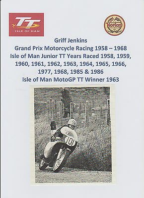 Griff Jenkins Motorcycle Racer 1958-1968 Iomtt Rare Original Hand Signed Picture