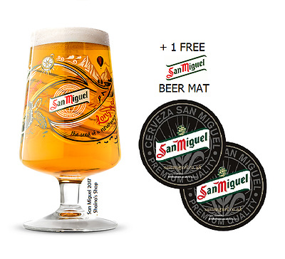 San Miguel 2017 Limited Edition Chalice Pint Glass + 1 FREE SAN MIGUEL BEER MAT