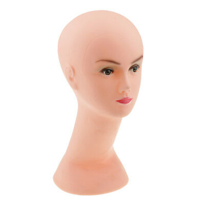 PVC Makeup Mannequin Manikin Long Neck Head Model Hair Hat Wig Glass Stand