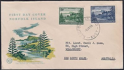 Norfolk Island 1959 Ball Bay White Paper Additional Values FDC