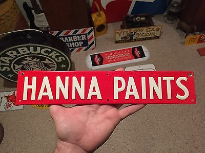 Vintage Hanna Paints Embossed Tin Sign Scioto Red & White Hanna's Paint Ad