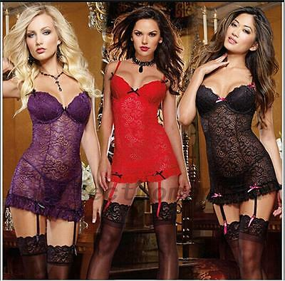 2pcs Underwire Lingeries Set Intimates Sleepwear Lace Dress G-string Thongs Hot