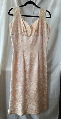 Vintage 1950's Handmade Satin And Lace Sheath Dress Size 10/12