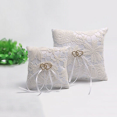 Double Heart Wedding Pocket Ring Pillow Cushion Bearer Crystal Rhineston WP3