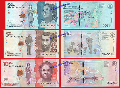 COLOMBIA 2000 5000 & 10000 Pesos 2015 (2016) Pick new AA SC / UNC