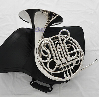 Professional Silver Nickel F/Bb Double French Horn 4 Key With Zipper Case