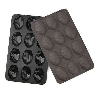 12 holes Silicone Cake Baking Mould Pan Shell Cookie Biscuit DIY Molds Decor NEW