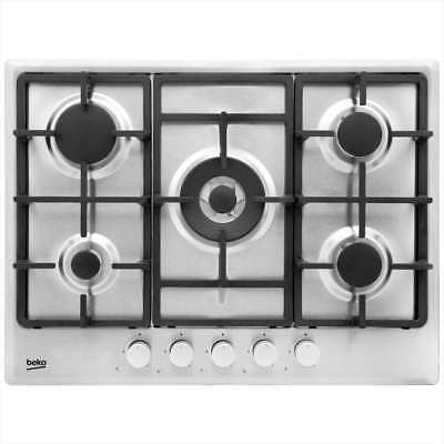 Beko HIMW75225SX Built In 68cm 5 Burners Gas Hob Stainless Steel New from AO