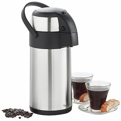 VonShef 3 / 5L Airpot Pump Action Flask Urn Stainless Steel Hot & Cold Drinks