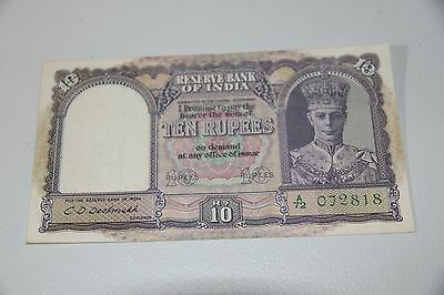 British Empire Reserve Bank of India 10 Rupees 1943 P.24 King George VI RMC 165