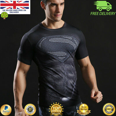 Mens t-shirt compression gym superhero avengers marvel muscle Superman