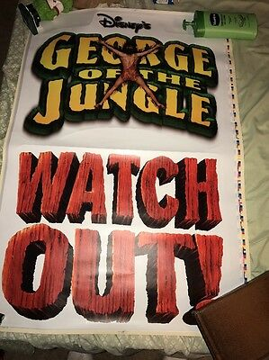DISNEYS GEORGE OF THE JUNGLE VINYL CLING MOVIE POSTER 27x40 2 PART